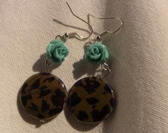 Leopard and sky blue rose earrings