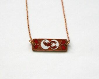 Scorpio Zodiac Necklace / Vintage Enamel / Art Nouveau