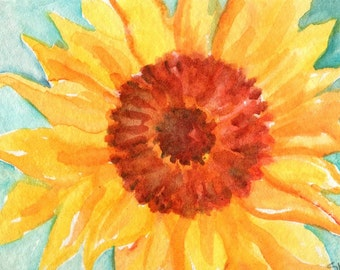 ACEO original Sunflower Painting on aqua watercolor Sunflower Art Card,  watercolor painting of sunflower, small flower art