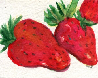 ACEO Strawberries Watercolors Paintings Original Art Card, an original watercolor paintings of strawberries