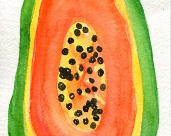 Papaya Watercolor Painting original, fruit original watercolor painting, small fruit art, kitchen decor, 4 x 6  Papaya wall art, tropical