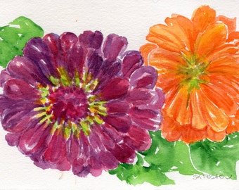 Zinnias Watercolors Paintings Original 5 x 7 inches, original watercolor painting of purple zinnia, orange zinnia flower art