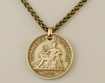 French Coin Necklace 1923 Mercury God