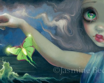 Luna Eclipse fairy art print by Jasmine Becket-Griffith BIG 6x18 moon moth butterflies