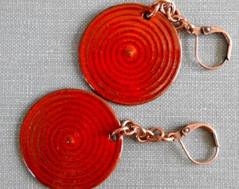 Red Earrings, Enameled Earrings, Copper Earrings, Poppy Red, Fire Truck Red, Red Bullseye, Enameled Jewelry, Enameled Brass