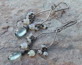 Moss AQUAMARINE earrings, OPAL earrings, sterling silver earrings, chandelier earrings, October birthstone birthday