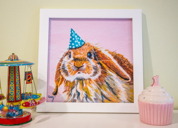 "Cute Rabbit Painting Art Print - Woodland Critter Art for Kids Room - 12x12"""