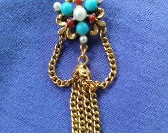 Vintage 1960s Pin Chantelaine Brooch Gold 60s Lapel Jewelry 2015156