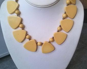 Vintage 1930s Bakelite Necklace Cream Tiles Brass Choker 16 Inches 20150529J96