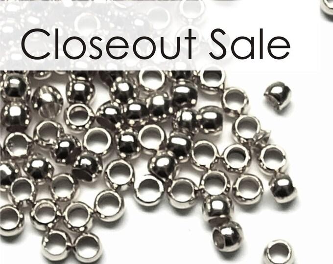 CLOSEOUT - CBBRP-pl30 - Crimp Bead, 3mm, Rhodium - 500 Pieces (5pk)