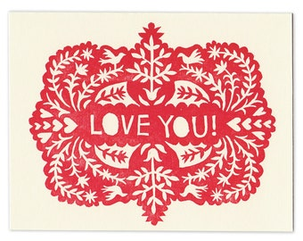 block-printed LOVE YOU greeting card, blank inside, letterpress, note card, love, lacy, pattern, scherenschnitte, red, birds, nature, hearts