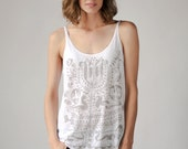Loose Tank, Tree of Life Print, White, Yoga Clothes, Boho Shirt, Women's Tank Top, Screenprinted