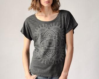 Boho Shirt, Loose Tshirt, Comfy Tee, Ventana Design
