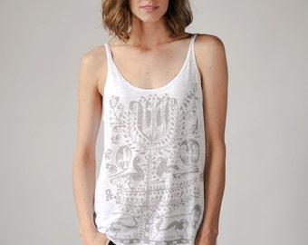 Loose Tank, Tree of Life Print, White, Yoga Clothes, Boho Shirt, Women's Tank Top, Screenprinted