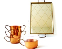 Copper Tea Set Tea Cups Mirrored Serving Tray Brass Mid Century Barware Danish Modern Tea Holders Jenaer Glasses Barware 5 Five Coffee Cups