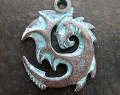 Ancient Dragon Pendant in Verdigris Bronze