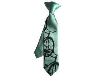 Bicycle kids tie. Boys clip-on bike necktie. Baby, toddler, or youth size Triple Cruiser cycling children's tie. Black on mint green & more.