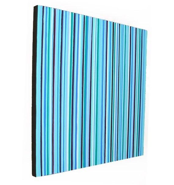 Original Wall Art Modern Home Decor Blue and Green Painting 16x16 Wall Hanging Acrylic Pop Art Stripes Artwork