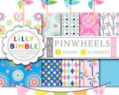 40% off Pinwheel clipart and digital papers, summer bunting bright colors printable Digital Downloads pinwheels