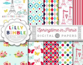 40% off Paris Digital Paper, Springtime, Hot air balloons, Eiffel tower scrapbook papers, french paper pack, red, light blue, Lilly Bimble