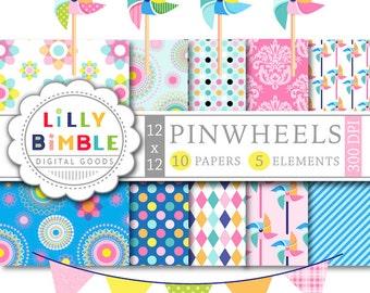 Pinwheel clipart and digital papers, summer bunting bright colors printable Digital Downloads pinwheels