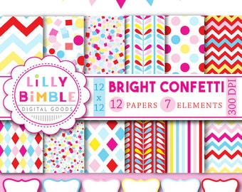 60% off CONFETTI digital papers birthday printables, invites, cards, confetti scrapbook papers, frames clipart