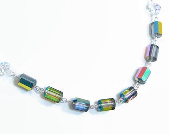 Vintage swarovski Crystal necklace. Fancy cut vitral Rainbow crystal.  Sterling silver chain.