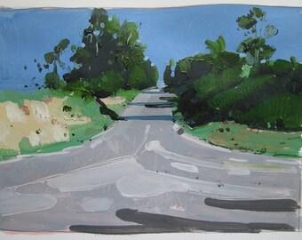 June 19, 7:00 pm, Original Landscape Painting on Paper, Stooshinoff
