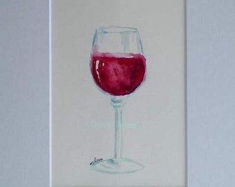 Red Wine Watercolor Art Original Painting by California Artist Debra Alouise Home Decor Food Drink Art