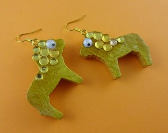 Glitzy Bling Lion Earrings - vintage wooden toy lions with rhinestones and googly eyes - cute kitsch novelty fun sparkly glittery diamantes