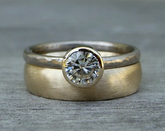 Engagement/Wedding Ring Set - Moissanite, Recycled 14k Yellow Gold, and Recycled 18k Palladium White Gold Solitaire and Band, Made to Order