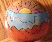 Sunrise at Grand Canyon Hand-Painted Gourd by Sandy Short ornament.