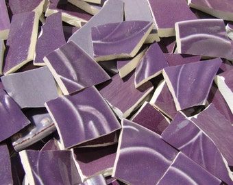 Mosaic Tiles Broken Plate Hand Cut Art Supply China Pieces Tesserae Purple Solid Pottery