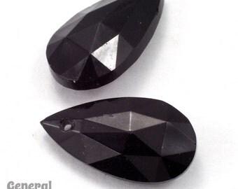 8mm x 16mm Black Faceted Teardrop Pendant (6 Pcs) #3500