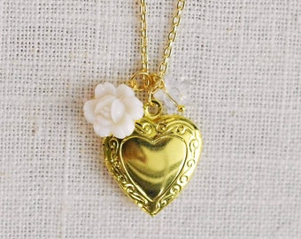 CLEARANCE . waterlily star . gold heart locket charm necklace (bits and pieces sale)