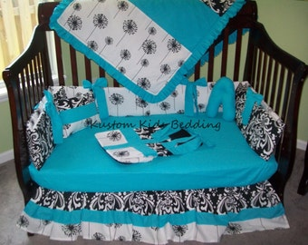 New 7 piece black/white Damask and Dandelion Crib Bedding Set