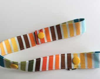 MULTI COLOURED STRIPES - Toy Tether - Toy Leash - Toy Strap - Sippy Cup Tether - Soother Tether - Baby Gift - Shower Gift Under 10 dollars
