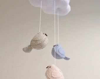Baby mobile - nursery decoration in blue and peach - cloud mobile