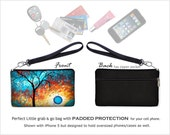 MadArt Cell Phone Wallet Wristlet Purse fits  iPhone 6 Aqua Burn Zipper Clutch Bag,  blue orange moon tree  RTS