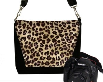 SALE Dslr Padded Camera Bag, Women's Leopard Handbag  Camera Bag Water Resistant Lens Pockets Water Repellent Cheetah RTS