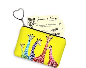 Clara Nilles Yellow Giraffe  Business Card Holder Keychain Change Purse Small Zipper Coin Purse Key Fob Bridesmaid Gift purple green RTS