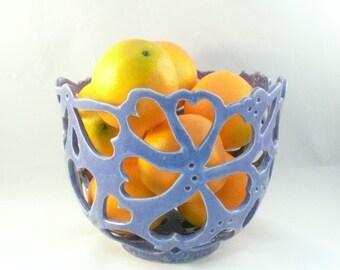 Ceramic Fruit Bowl, Collectible Art Vessel, Cut Out Bowl in Purple, Art Object, Ceramic Sculpture, Artistic Fruit Bowl,  Wedding Gift