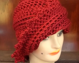 Crochet Hat Womens Hat Trendy,  Womens Crochet Hat,  Crochet Beanie Hat,  Autumn Red Hat,  Lauren Beanie Hat for Women,  Crochet Hat