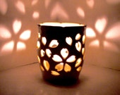 Ceramic Luminary/Candle Holder,Wheel Thrown, Hand Carved Sakura