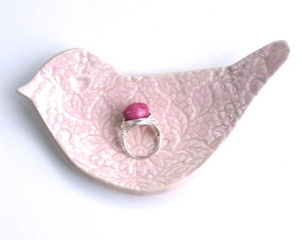 Ceramic Hand Built  bird shape dish / Plate, Lacy Pink