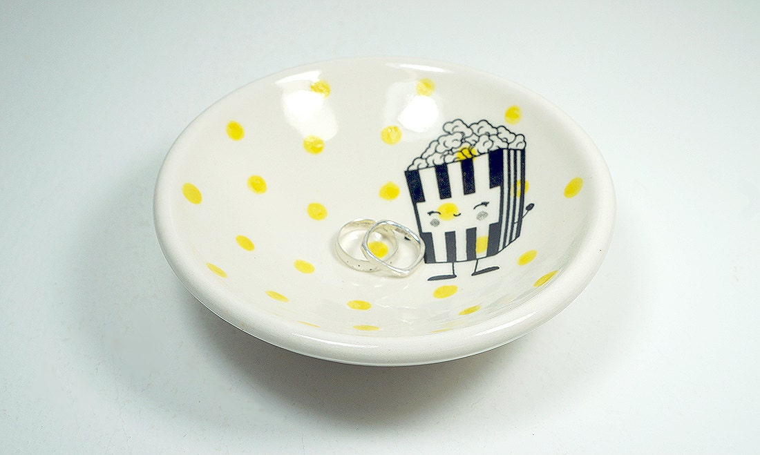 small dish, with a happy popcorn on yellow polkadots, made to order / pick your colour