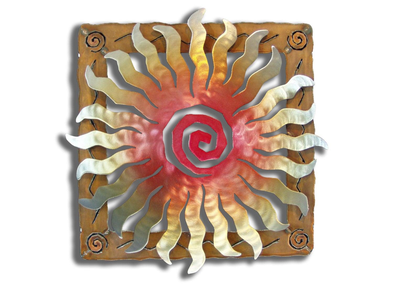 Metal sun wall sculpture steel sunburst spiral with rusted for Sun wall art