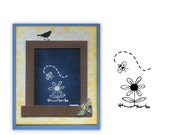 SALE - Bee and Flower unmounted rubber stamp, Summer  #9 - was 3.00