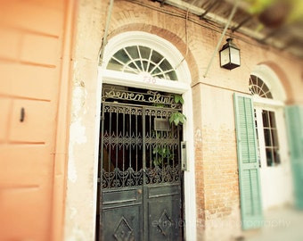 new orleans fine art photography, french quarter architecture, orange home decor, large living room wall art, Seven Thirty