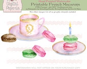Printable French Macarons Tea Cup Saucer Birthday Candle Laduree Wreath Gift Jar Commercial Use 300 DPI